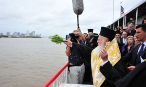 "His All Holiness Ecumenical Patriarch Bartholomew blesses the waters of the Mississippi River in a special liturgical service, at the opening of the Eighth Religion, Science and the Environment (RSE) Symposium, entitled ""Restoring Balance: The Great Mississippi River,"" in New Orleans."
