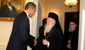 U.S. President Barack Obama welcomes the Ecumenical Patriarch Bartholomew and Archbishop Demetrios at the White House.