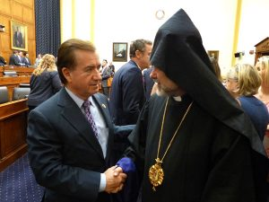 Chairman Ed Royce with Armenian Bishop Anoushavan Tanielian in the Committee hearing room.