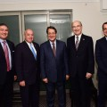 AHEPA Supreme President Philip T. Frangos (2R) with President of Cyprus Nicos Anastasiades, Government Spokesman Nikos Christodoulides (1R), Chairman of the Board and Past Supreme President Nicholas A. Karacostas (1L) and Supreme Secretary Andy Zachariades (2L). AHEPA donated $25,000 for the Children of Cyprus. Photo: Dimitrios Panagos