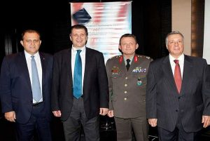 From left: AHI President Nick Larigakis, Minister of Macedonia and Thrace George Orfanos, Lieutenant General Ilias Leontaris (Commander NRDC-GR), and American Universities Alumni Association of Northern Greece President Nikos Philippou.