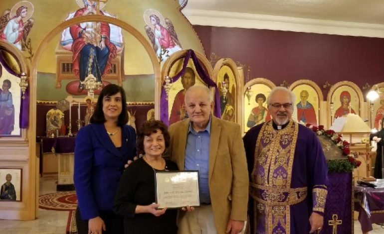 Assemblywoman Nicole Malliotakis Honors Couple on Greek Independence Day