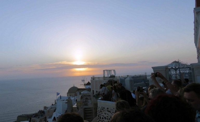 On the Road in Greece: Sunset in Santorini