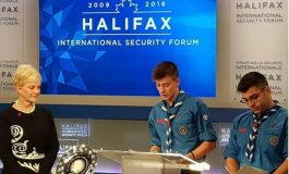 Two sea scouts accept inaugural John  McCain Prize on behalf of Lesvos