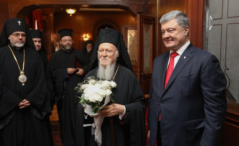 Ecumenical Patriarch Bartholomew signs agreement with Ukrainian president Poroshenko