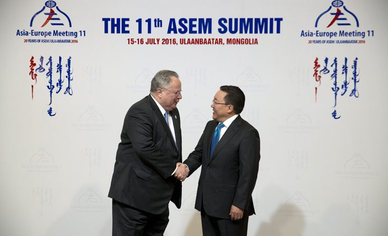 FM Kotzias Talks to ANA from Ulan Bator ahead of EU-Gulf Countries Meeting in Brussels