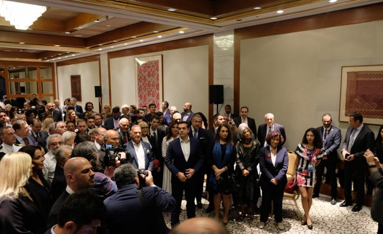 Tsipras attends a gathering of Greek Americans in New York