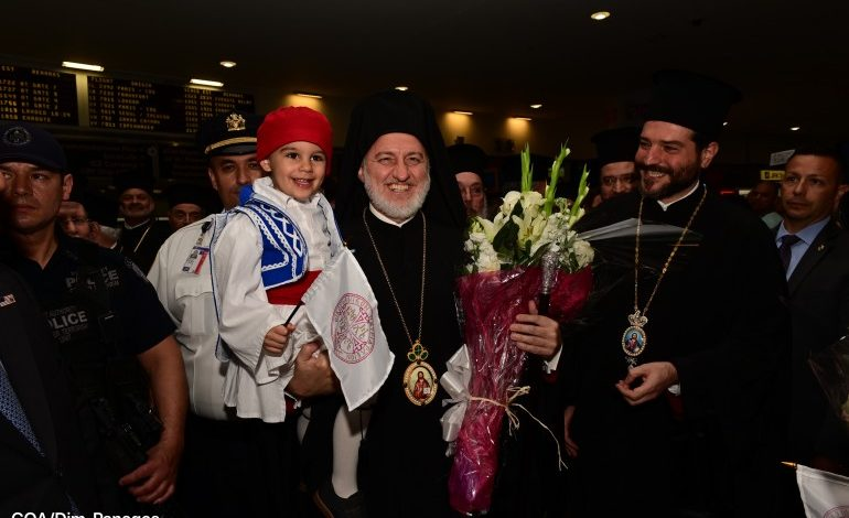 Archbishop Elpidophoros received a warm welcome upon his arrival at the airport