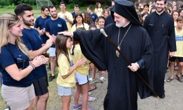 Elpidophoros with the young campers at Camp Saint Paul