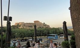 On the Road in Greece: Dionysos Zonar's  Café overlooking the Acropolis, Athens